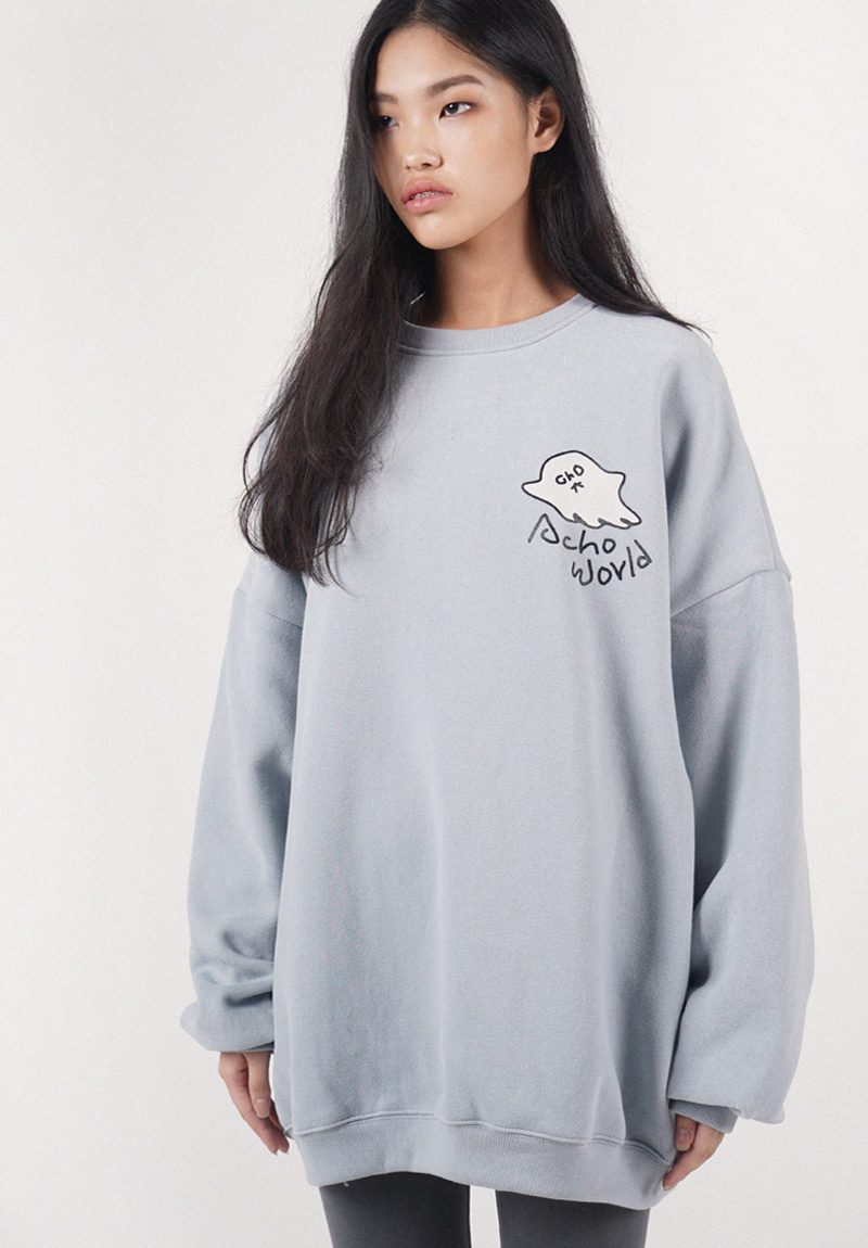 [기모]프리미엄 원단 Acho X Ghost Sweat Shirt_Skyblue