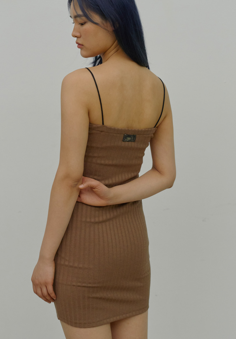 Handmade Label Strap Dress_Brown
