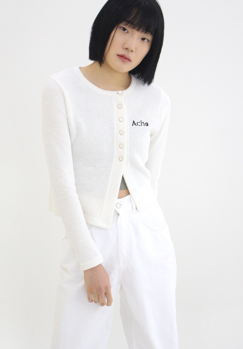 Unbal Cutting Cardigan_White