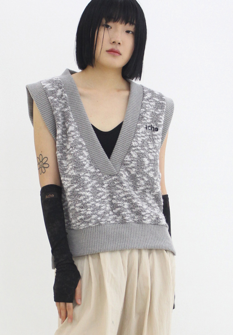 Deep V-neck Vest_Gray
