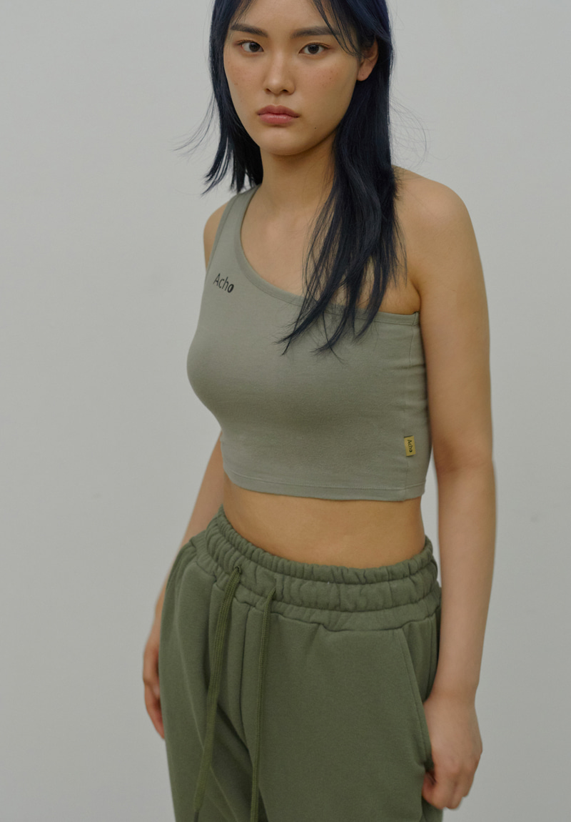 One Shoulder Sleeveless_Khaki