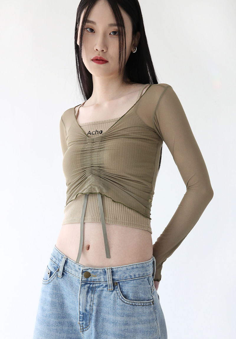 Chiffon String T-shirt SET_Khaki
